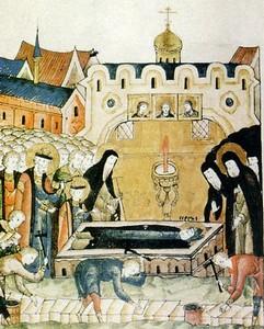 Икона Обретение мощей Преподобного Сергия Радонежского