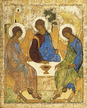 Икона Святой Троицы, написанная Андреем Рублёвым
